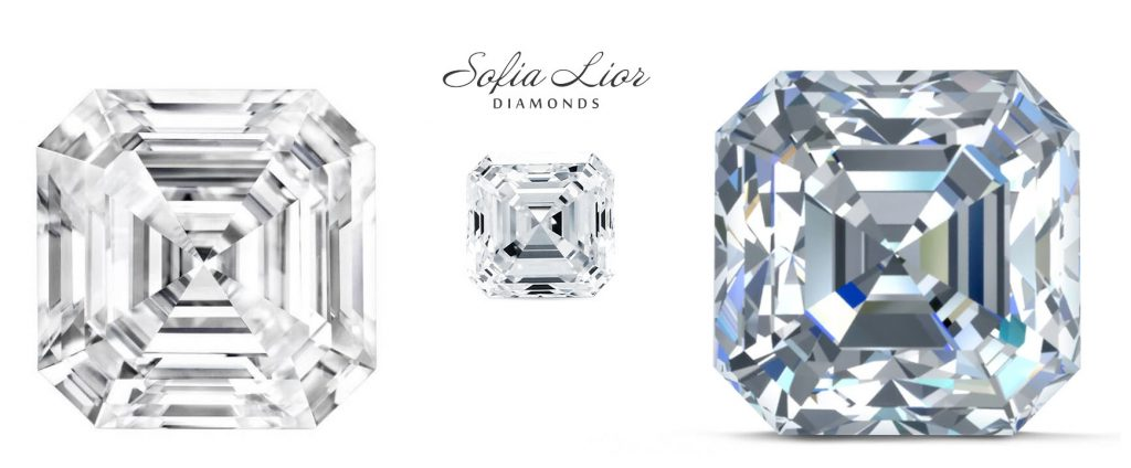Lab Gwown Asscher Cut diamonds in Sofia Lior