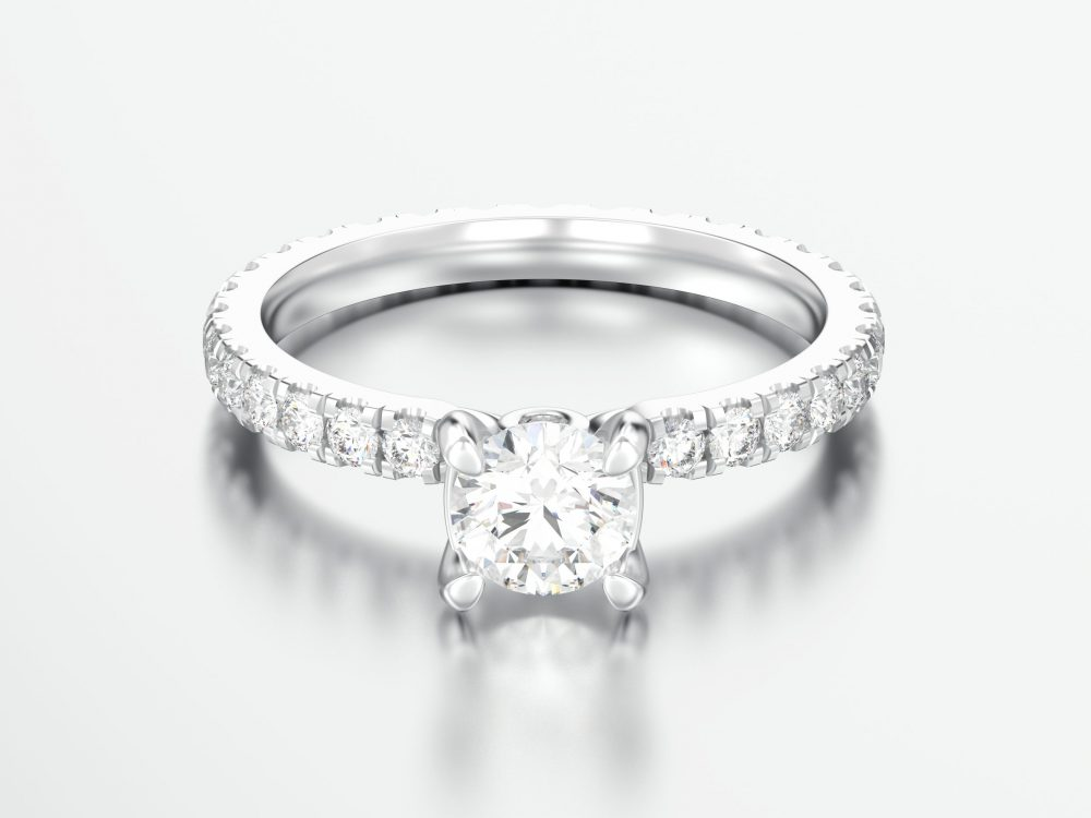 Pave engagement ring with lab created diamonds - Dallas, TX