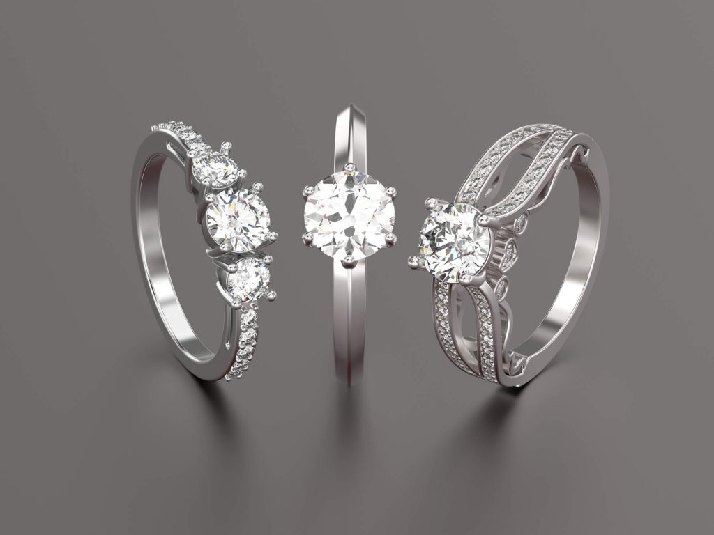 Three stone engagement rings with moissanite buy in Dallas, TX
